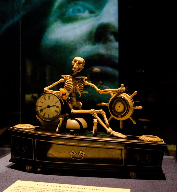 Counting down to death: An alarm clock from 1840-1900 loaned from the Science Museum. Image copyright: Tony Antoniou/The British Library