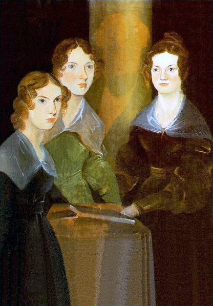 Painting of Anne, Emily and Charlotte, with Branwell painted out. Portrait by Branwell Brontë. Image in the public domain.