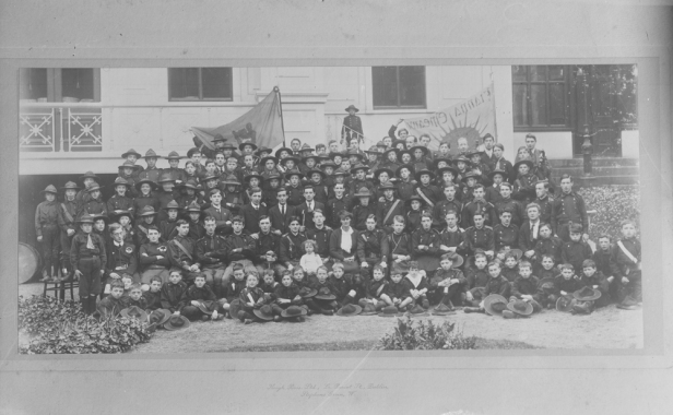 Fianna Éireann scouts with Countess Markievicz (centre), including Fianna Éireann flags. Image: National Library of Ireland