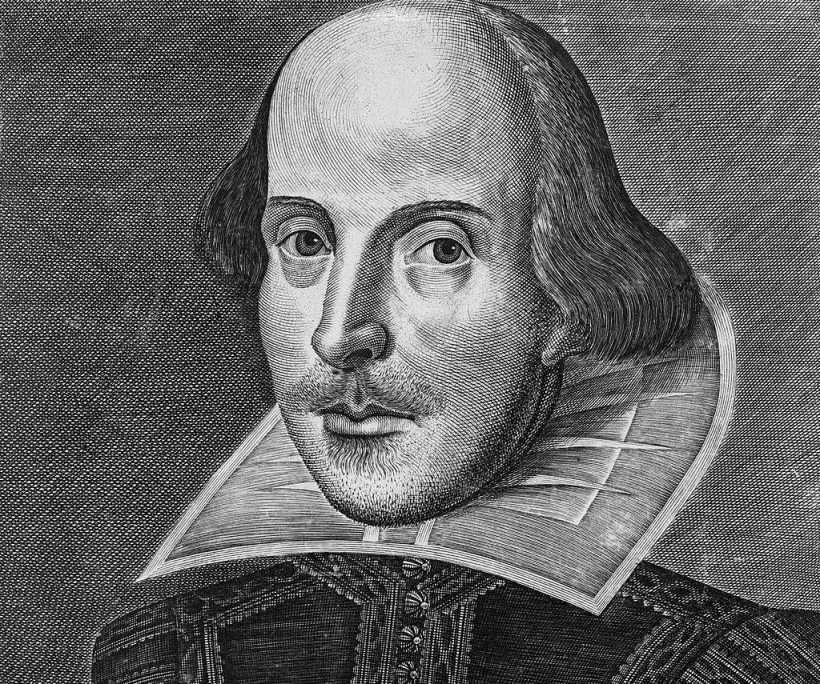 The Droeshout portrait of Shakespeare, c. 1623. Image in public domain.